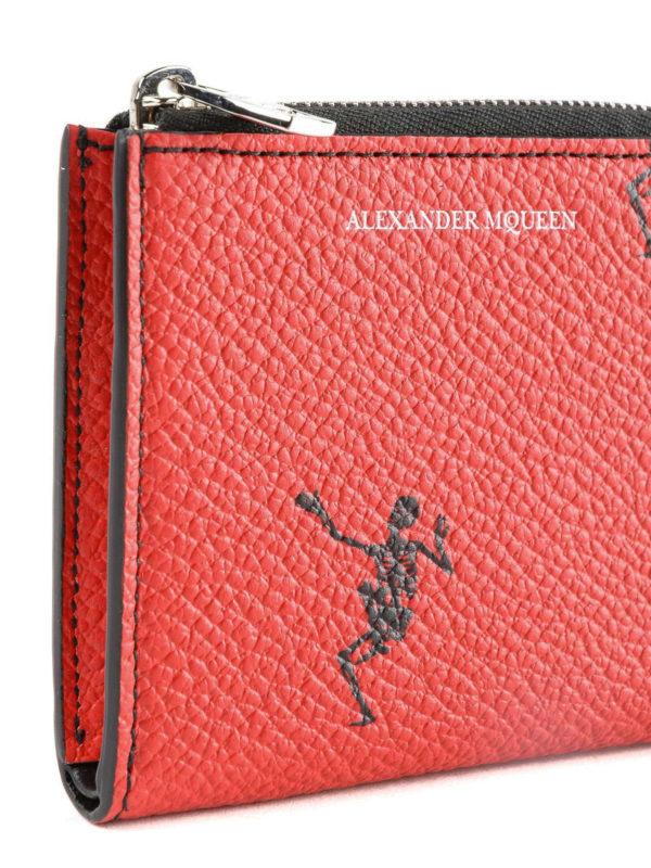 Dancing Skeleton red coin case shop online: ALEXANDER MCQUEEN