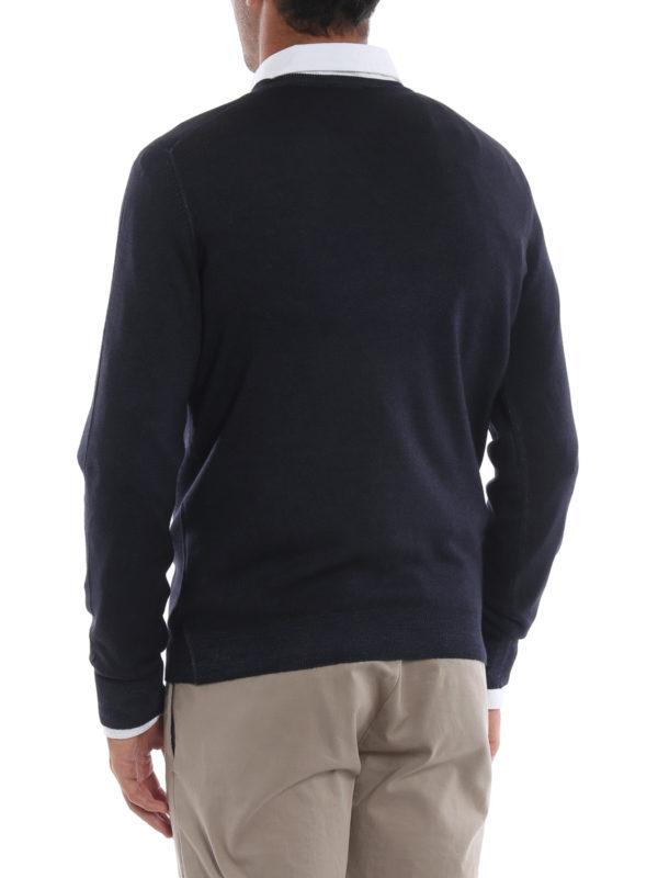 Dark blue virgin wool V-neckline pullover shop online: FAY