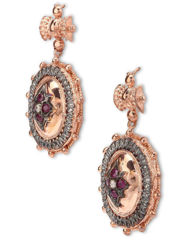 De Maria: earrings online - Silver earrings with rubies and diamonds