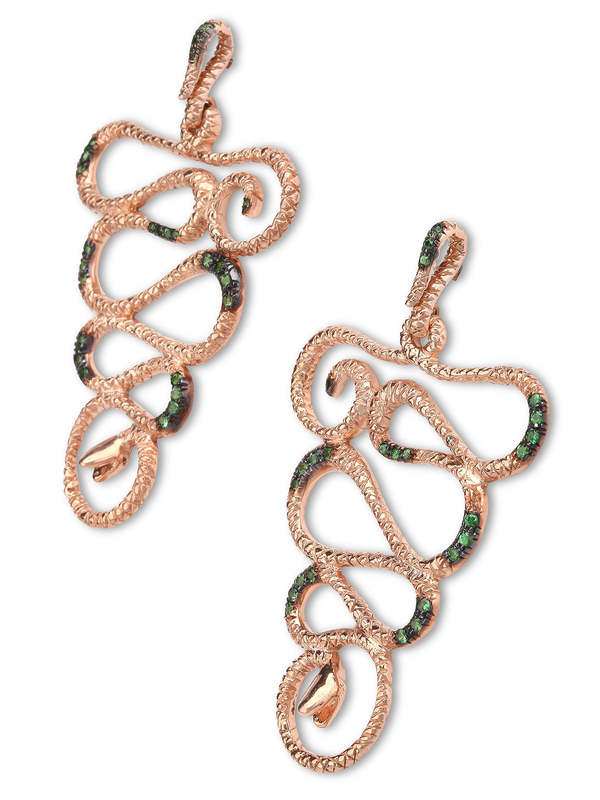 De Maria: earrings online - Silver snake earrings