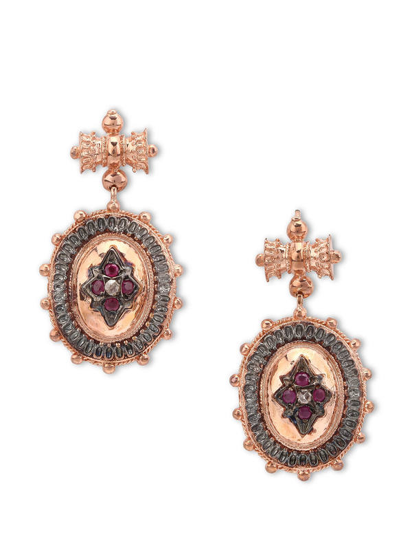 De Maria: earrings - Silver earrings with rubies and diamonds