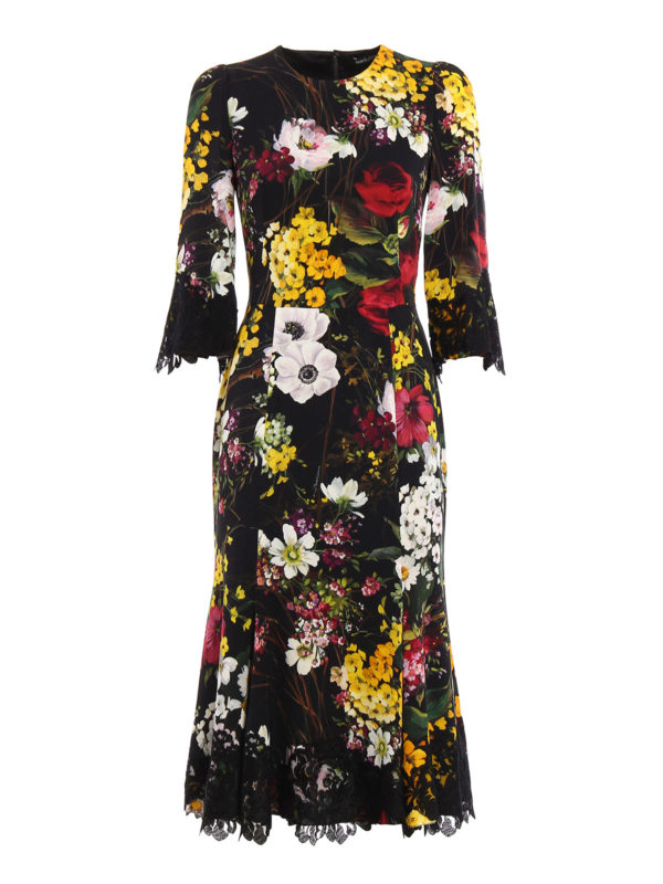 Dolce & Gabbana: cocktail dresses - Lace detailed floral silk dress