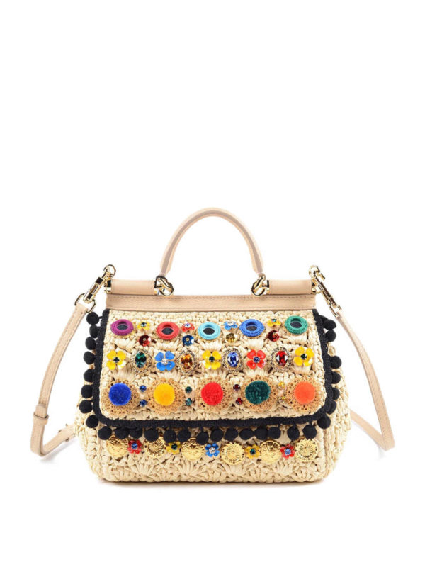 fbb5c6d472 Dolce   Gabbana - Sicily embellished raffia bag - cross body bags ...