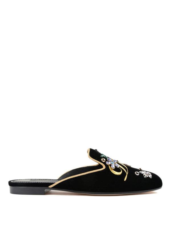 Dolce & Gabbana: Mokassins und Slippers - Slippers - Schwarz