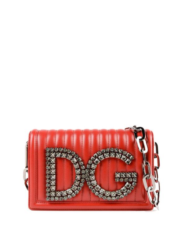 DOLCE   GABBANA  shoulder bags - DG Girls embellished red quilted leather  bag bf320d2affe5f