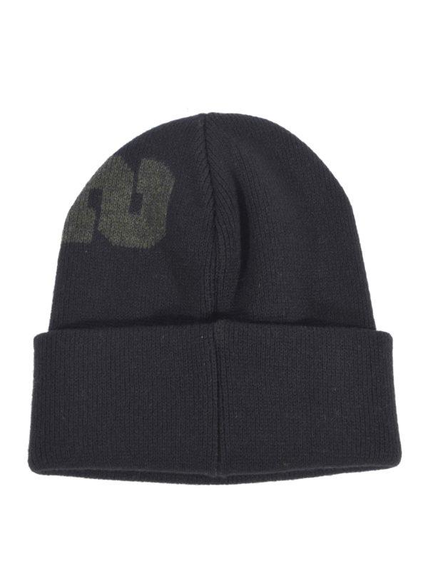 c45110c20dc DSQUARED2  beanies online - Logo intarsia black wool beanie