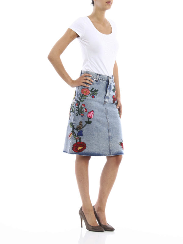 Embroidered washed  denim skirt shop online: GUCCI