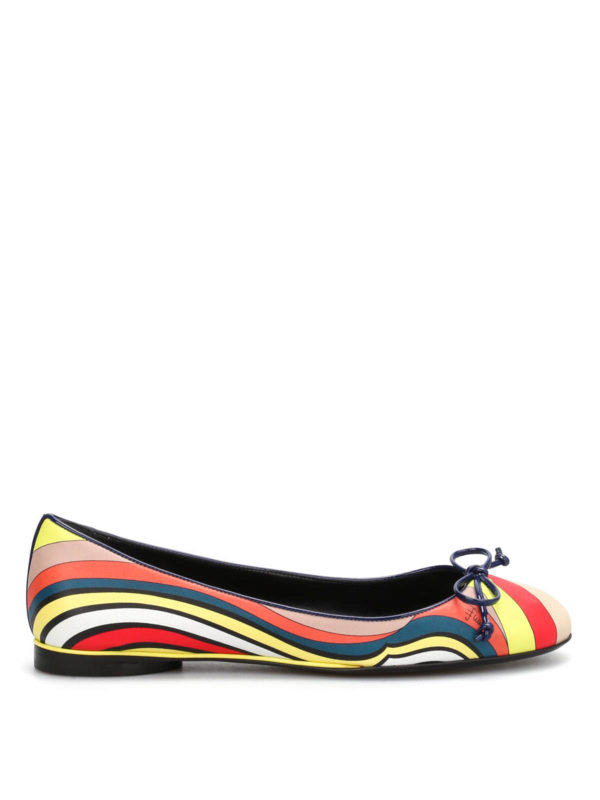 Emilio Pucci: flat shoes online - Printed leather flat shoes