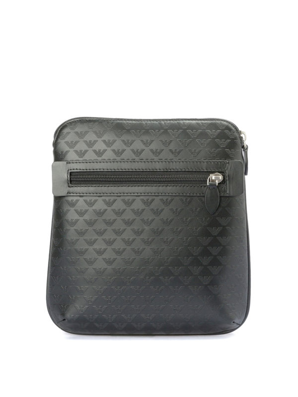 EMPORIO ARMANI: shoulder bags - Printed leather flat messenger bag