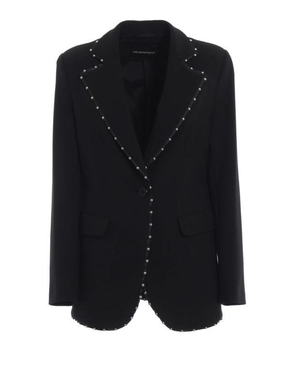 d4a9cc81450c EMPORIO ARMANI: giacche sartoriali - Giacca nera in cady a un bottone con  borchie
