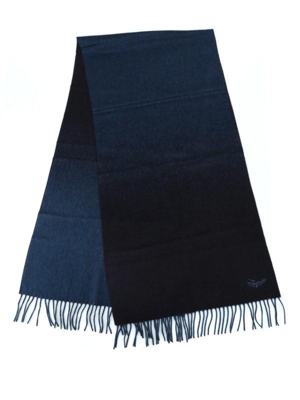ERMENEGILDO ZEGNA: scarves online - Double face blue silk fringed scarf