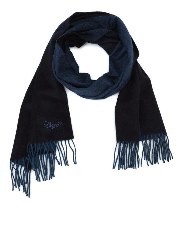ERMENEGILDO ZEGNA: scarves - Double face blue silk fringed scarf