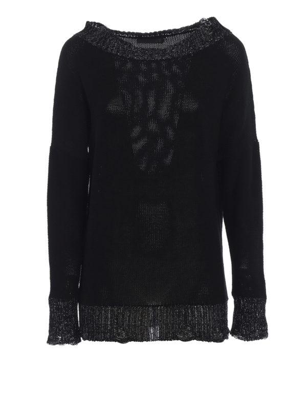 FABIANA FILIPPI: boat necks - Lurex trim cotton boat neck sweater