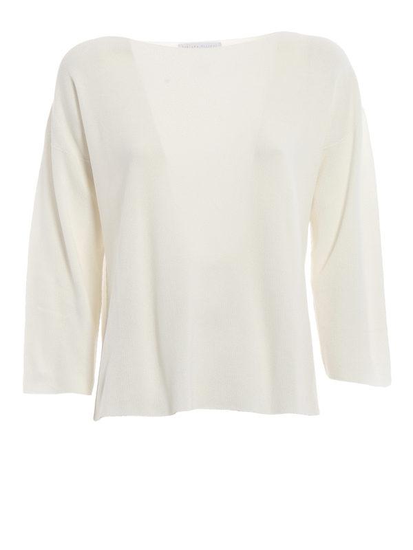 FABIANA FILIPPI: boat necks - White rice stitch cotton sweater