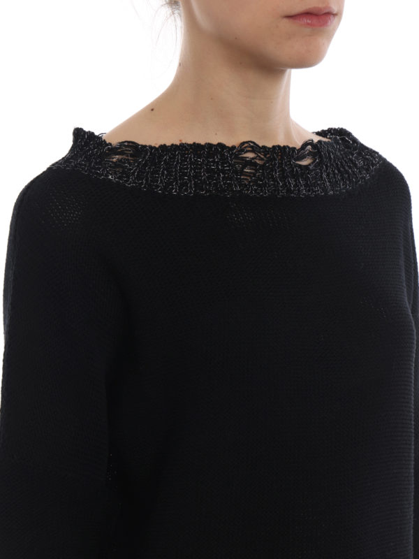 FABIANA FILIPPI buy online Lurex trim cotton boat neck sweater