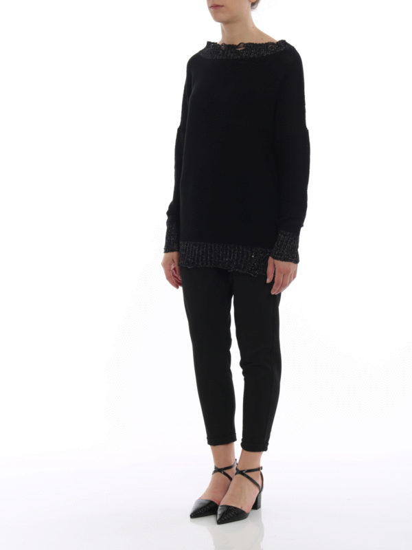 FABIANA FILIPPI: boat necks online - Lurex trim cotton boat neck sweater
