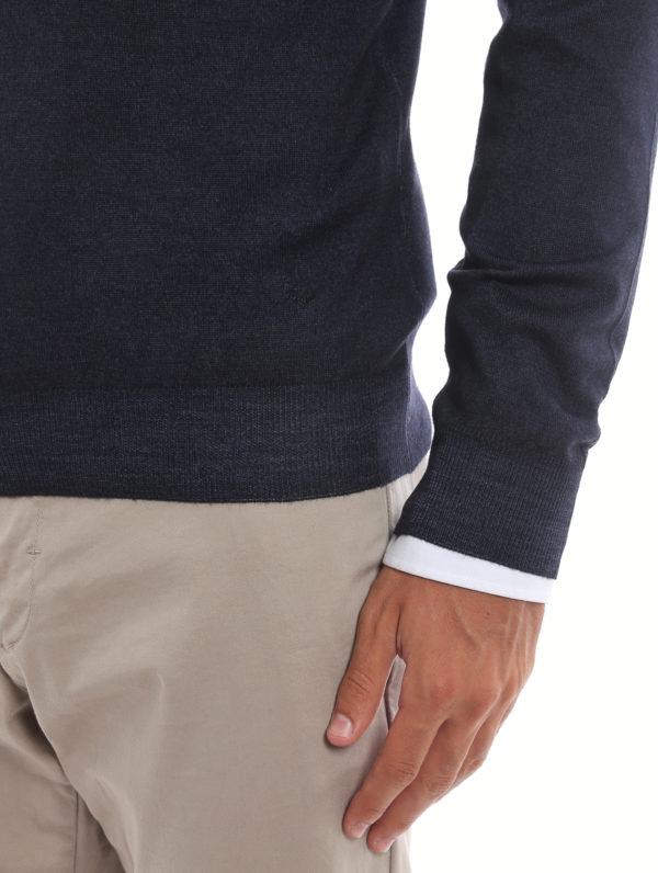 FAY buy online Dark blue virgin wool V-neckline pullover