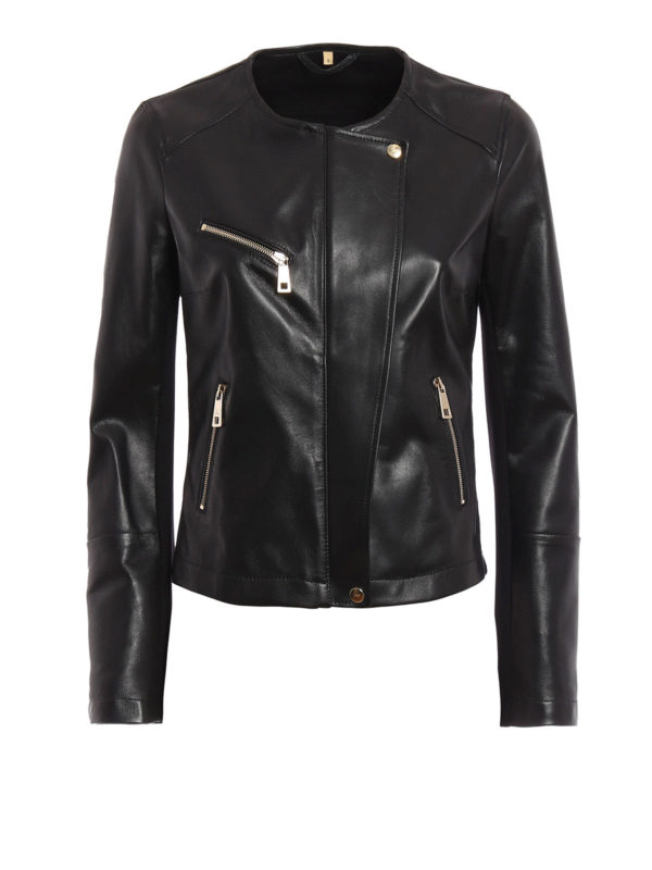 FAY: leather jacket - Leather and jersey jacket