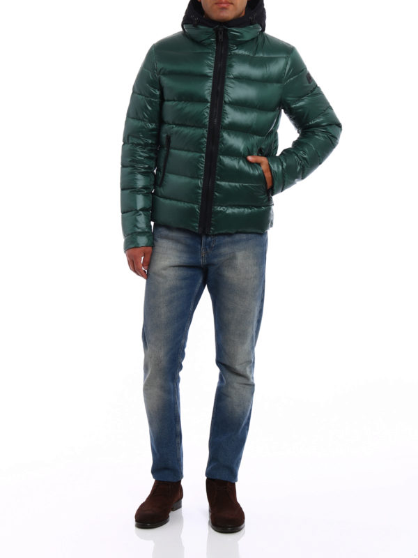 Fay: padded jackets online - Double-front hooded puffer jacket