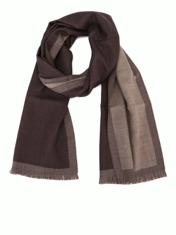 FAY: scarves - Chocolate brown basic wool scarf