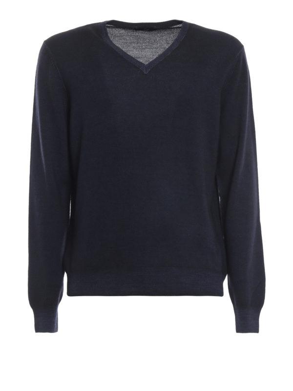 FAY: v necks - Dark blue virgin wool V-neckline pullover