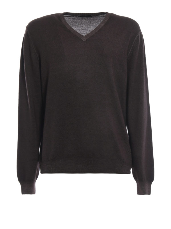 FAY: v necks - Dark brown virgin wool V-neckline pullover