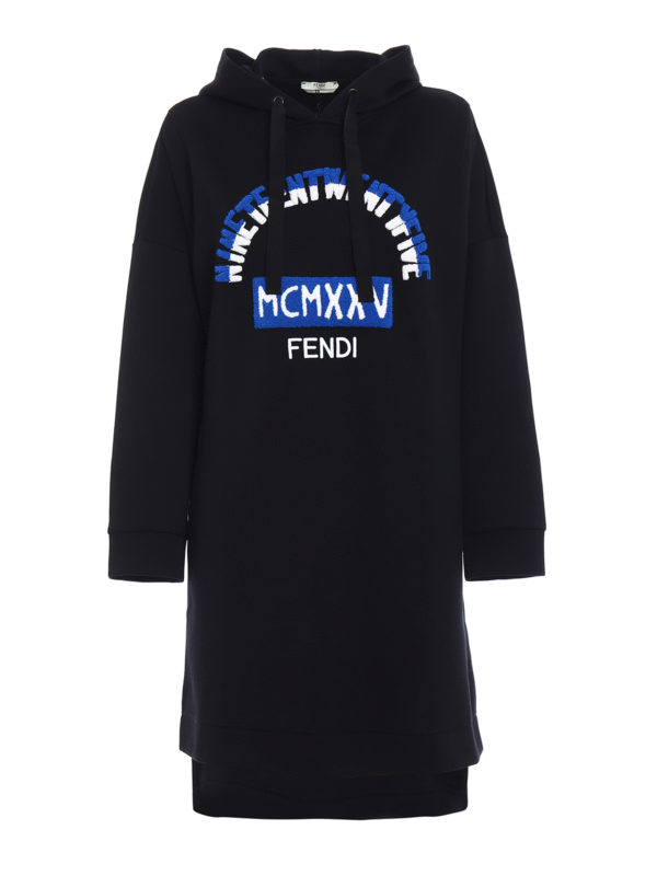 Fendi: knee length dresses - Heritage sweatshirt-style dress
