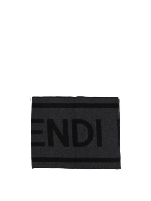 FENDI: scarves online - Fendi Roma dark grey jacquard wool scarf