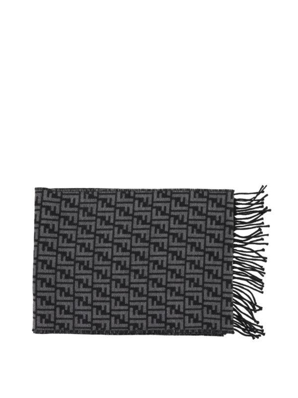 FENDI: scarves online - FF jacquard wool grey scarf