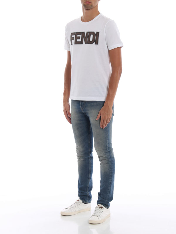 FENDI: T-shirts online - T-Shirt - Weiß