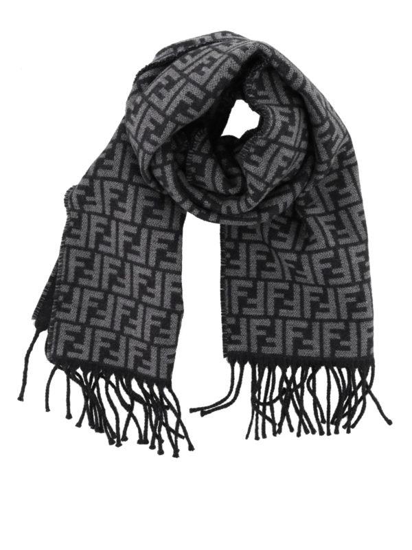 FENDI: scarves - FF jacquard wool grey scarf