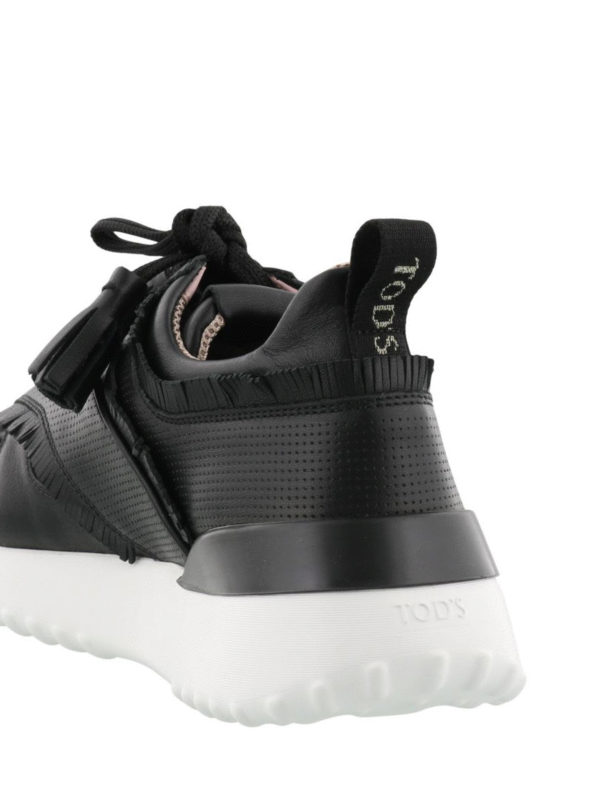 Fringed black leather sneakers shop online: TOD