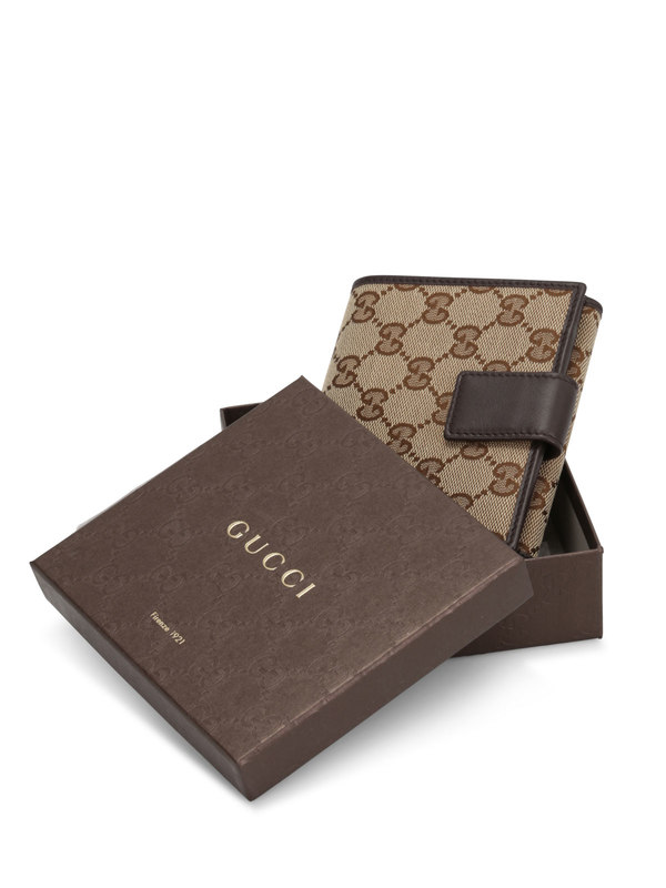 GG canvas french wallet shop online: Gucci