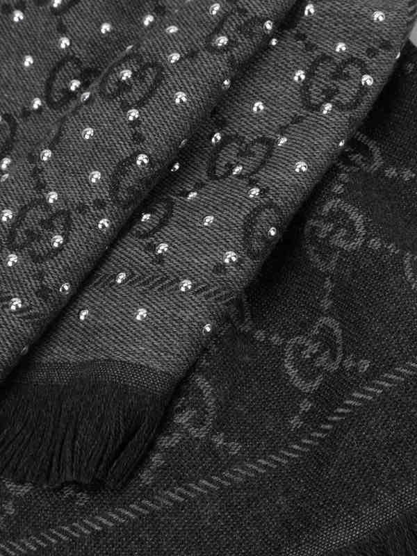GG jacquard wool scarf with studs shop online: GUCCI