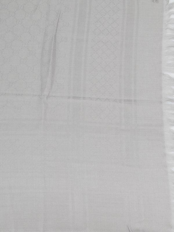 GG jacquard wool silk scarf shop online: Gucci