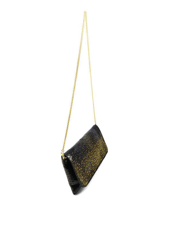 Ghibli: shoulder bags online - Python leather clutch with Swarovski crystals