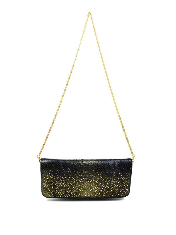 Ghibli: Schultertaschen - Python leather clutch with Swarovski crystals
