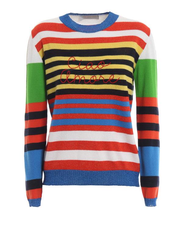 Giada Benincasa Ciao Amore Multi Stripe Cashmere Sweater Crew