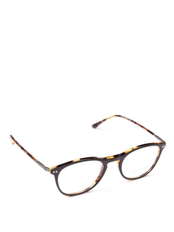 GIORGIO ARMANI: Glasses - Black and havana panto eyeglasses