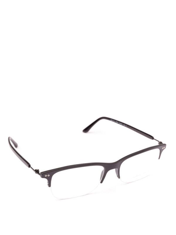 GIORGIO ARMANI: Glasses - Black half frame rectangular eyeglasses