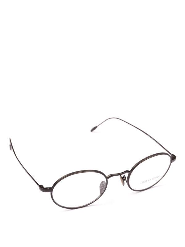GIORGIO ARMANI: Glasses - Black slender frame oval eyeglasses