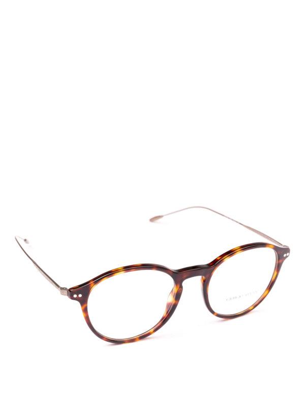 GIORGIO ARMANI: Glasses - Havana acetate panto eyeglasses
