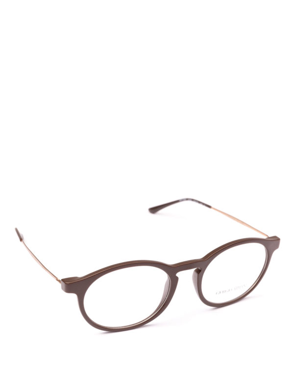 GIORGIO ARMANI: Glasses - Matte brown acetate panto eyeglasses