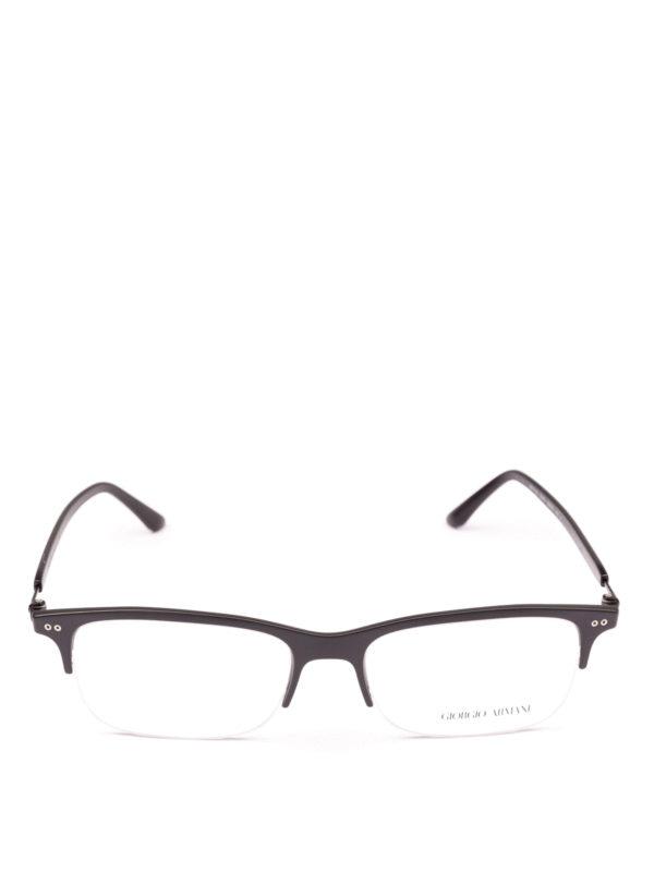 GIORGIO ARMANI: Glasses online - Black half frame rectangular eyeglasses