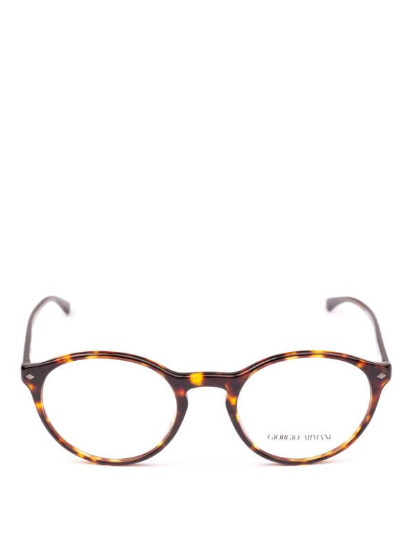 GIORGIO ARMANI: Glasses online - Havana acetate panto eyeglasses