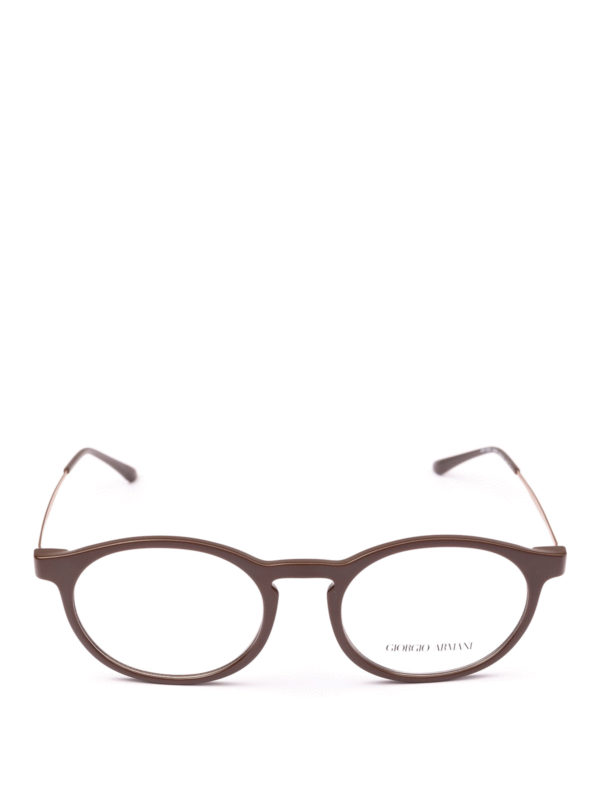 GIORGIO ARMANI: Glasses online - Matte brown acetate panto eyeglasses