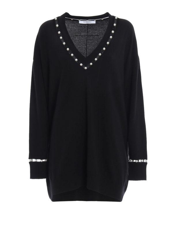 Givenchy: Strickpullover mit V-Ausschnitt - V-Pullover - Over