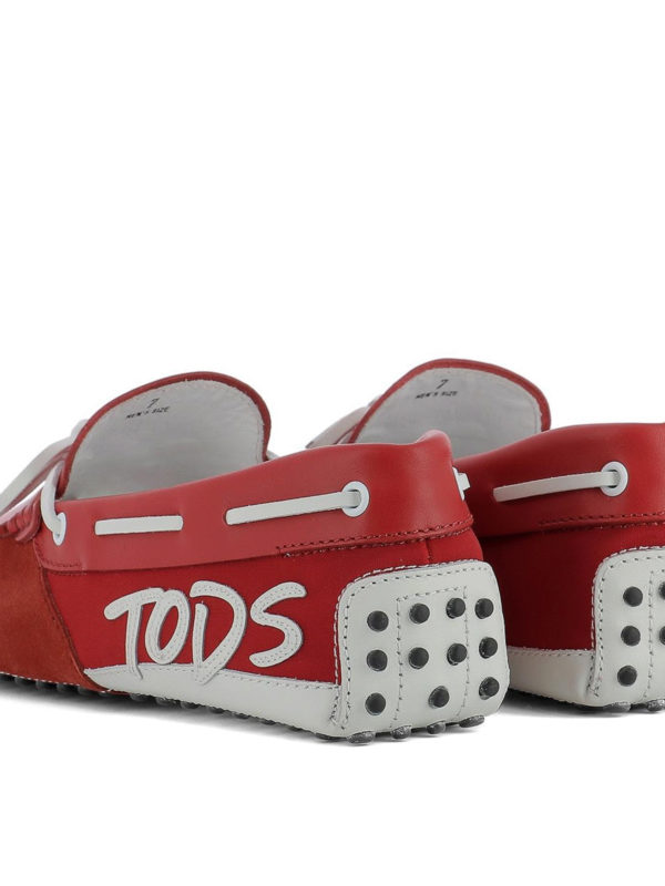 Gommino red and white logo loafers shop online: TOD