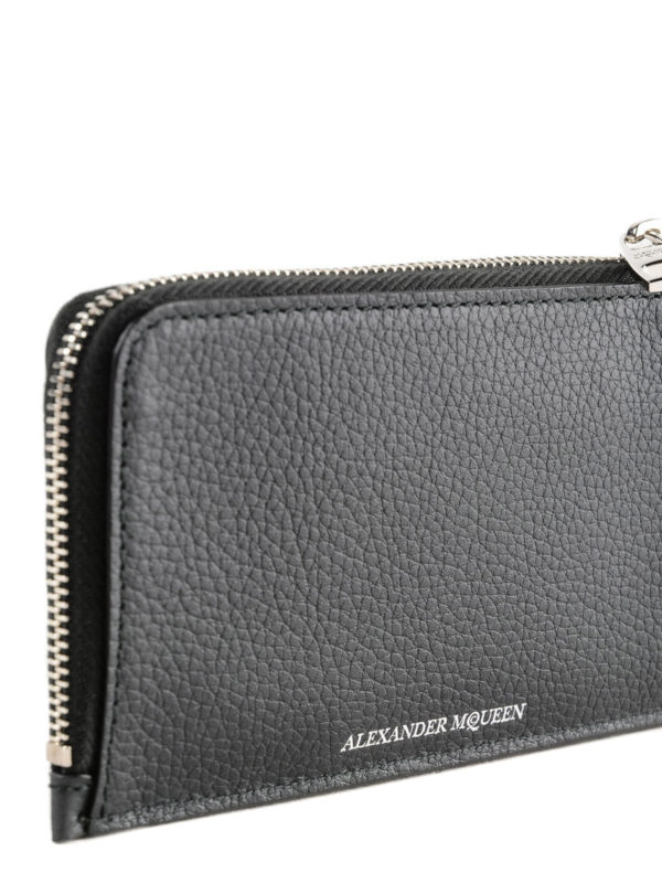 Grain leather zipped coin case shop online: ALEXANDER MCQUEEN