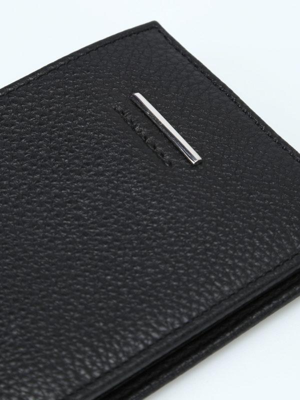 Grainy leather black wallet shop online: PIQUADRO